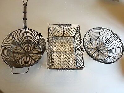 Three Vintage French Wirework Baskets. Nice Decorative Items.