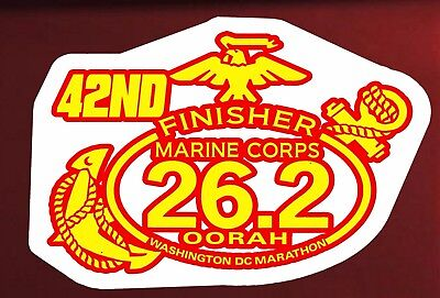 """43 rd Marine Corps Marathon D.C.Finisher Red Gold foil color Decal 8/""""W x 6/""""H"""