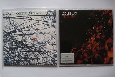 """Coldplay - two 7"""" singles - Shiver 7"""" vinyl and Trouble 7"""" vinyl"""