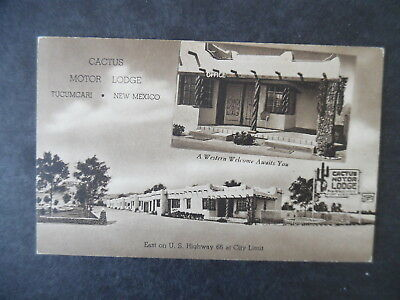1940s Tucumcari New Mexico Cactus Motor Lodge Route 66 Motel Postcard