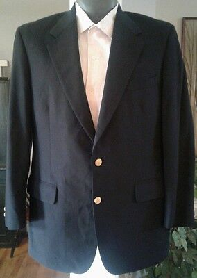 Brooks Brothers Brooksease Navy 2 Gold Button Sport Coat Blazer 42R Wool