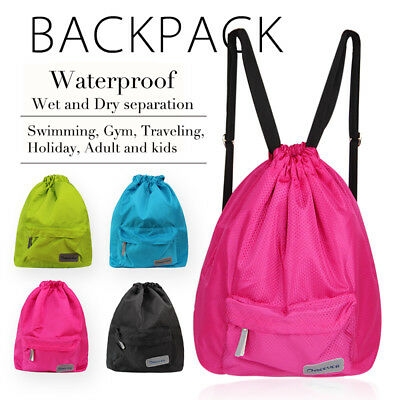 Black Swimming Bag,Waterproof Wet and Dry Separation Swimming Beach Gym Backpack