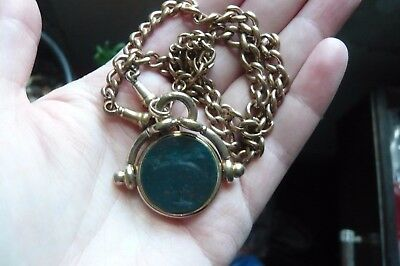 Victorian Gilt Metal Albert Chain with Bloodstone Fob