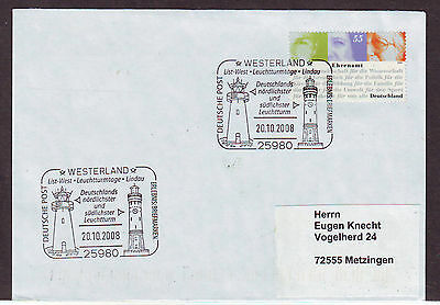 (c) Germany 2674 LIGHTHOUSE  WESTERLAND LIST LINDAU 2008 COVER LETTRE