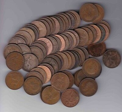 Large Lot Of 76 British Large Pennies Penny