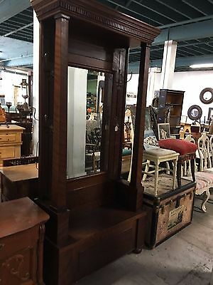American Antique Hall Tree Bench Large Mahogany Mirrored Back With Brass Hooks