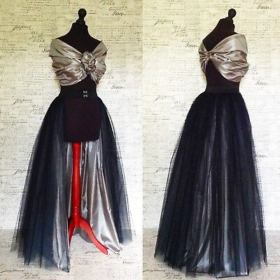 Black silver grey tulle net fully lined bustle skirt. Ball party prom dress up