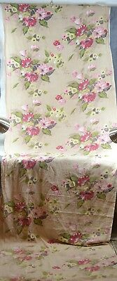 fabric cabbage roses shabby 36x144 in. bark cloth style cotton vintage original