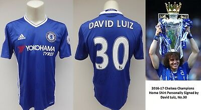 2015-16 Chelsea Champions Home Shirt Signed by David Luiz No.30 (11640)