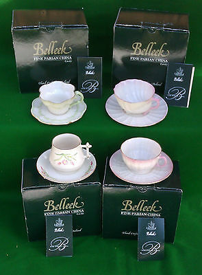 Selection Of Belleek Teacup & Saucer Sets Boxed - Last One
