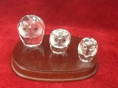 Lead crystal 3 owls.with wooden base