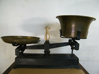 """Antique French Original Cond """"Force"""" 10 Kilo Balance Baker's Scale Iron & Brass"""