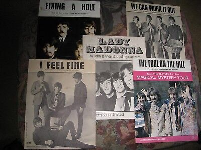 5 original beatles song sheets, in good condition