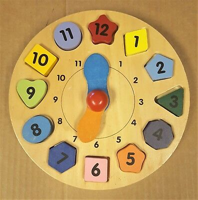 Wooden Clock Puzzle Shape Sorter Learn to Tell Time