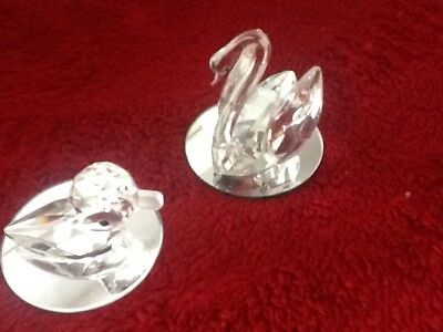 Lead crystal duck and swan with mirrored base