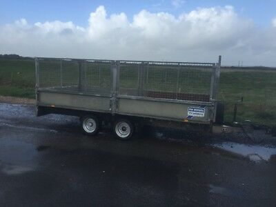 Ifor Williams twin axle 3500kg trailer with cage sides, Ramps, Ali checker floor