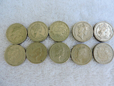 Ten English Pounds £10 in 1 Pound (£1) British England Britain Lot of 10 Coins