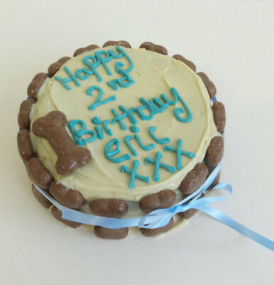DOG BIRTHDAY CAKE ANY NAME Treat Puppy Food Gift Party Christmas Blue White Bone