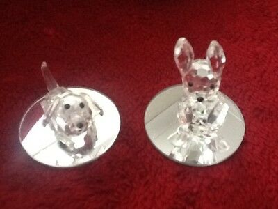 lead crystal dog and rabbit with mirrored base