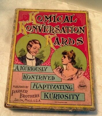 Antique Komical Konversation Kards by Parker Brothers 1893 Made in USA