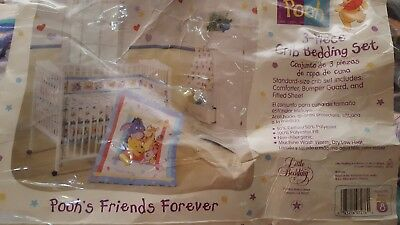 Vintage Winnie the Pooh Crib Bedding set 3 piece Pooh's Friends Forever new open