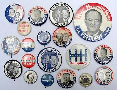 Hubert Humphrey President Campaign Buttons lot of 19