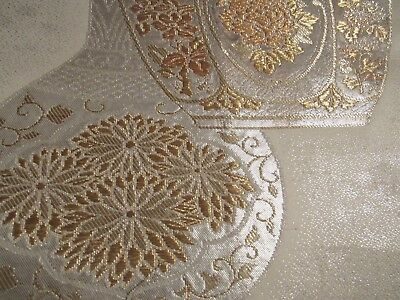 """Silver and Golden Vase Intricate Embroidery OBI Silk Fabric Japan 16"""" ~ NR 8528"""