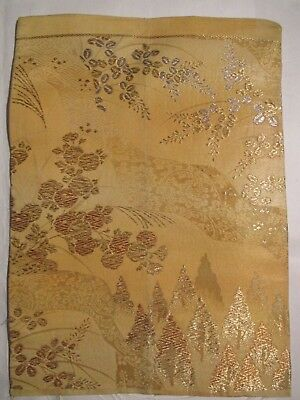 """Many Shades of Gold Silver Forest on Yellow OBI Silk Fabric Japan 16"""" ~ NR 8532"""