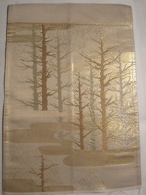 """Tree's of Gold and Silver Touch of Green OBI Silk Fabric Japan 17"""" ~ NR 8438"""