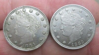 Two 1883 Liberty Nickels No Cents UNC Condition No Reserve