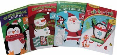 Christmas Coloring And Activity Books for Kids- Set Of 4 Books - Lots of Mazes,