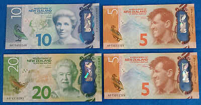 **Lot of 4 New Zealand New Design Two 5,One 10,One 20 Dollars Bills Currency**