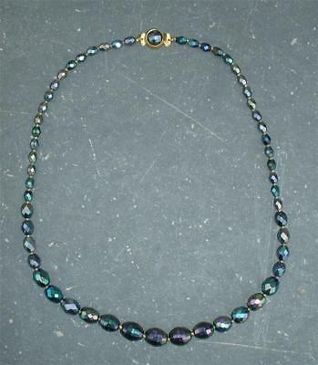 Vintage Carnival Glass Necklace Beautiful Iridescence