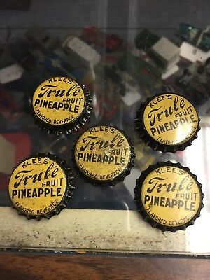 Lot of 5 KLEE'S TRULE FRUIT PINEAPPLE Soda Bottle Caps Crown UNUSED CORK Cap