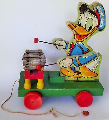 Disneyland Fisher Price Donald Duck With Xylophone Wooden Lithographed Pull Toy