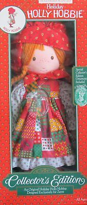 "Collector Edition HOLIDAY HOLLY HOBBIE Scented 18.5"" DOLL w Xmas ORNAMENT Zayre"
