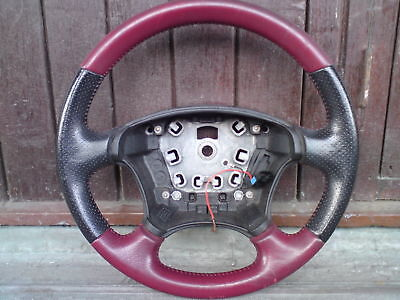 ***rare Peugeot 406 Coupe D9 Red Leather Steering Wheel In Average Condition***