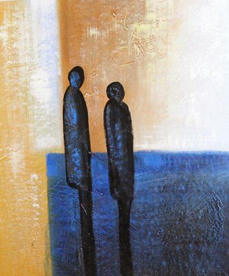 Couple Love People Abstract - Oil Painting on canvas - hand painted and (G7d)