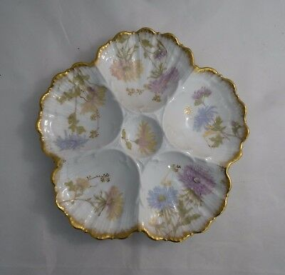 Antique Higgins Seiter New York Hand Painted Oyster Plate Floral #6558