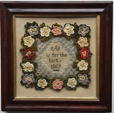 Unusual 19th c Antique  Punched Paper Beadwork Crochet Flower Sampler 1869