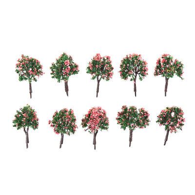 10PCS HO Scale Model Trees Model Tree with Pink Flower for Railroad Scenery S6
