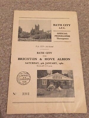 Bath City V Brighton & Hove Albion 1959/60 FA Cup Third Round 9/1/60