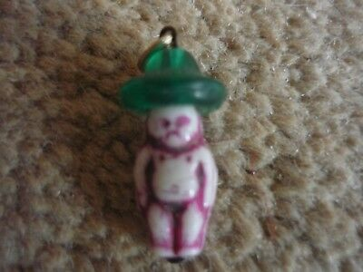 Vintage Antique 1920s Oriental Glass Cracker Charm - Baby with Coolie Hat