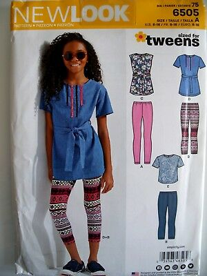 NEW LOOK Pattern 6505 -  Girls Tops and Leggings - sized for tweens Aged 8-16