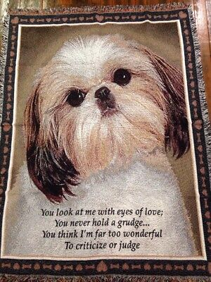 Shih Tzu Dog love bone verse Cotton Jacquard Woven Afghan Throw Blanket NEW RARE