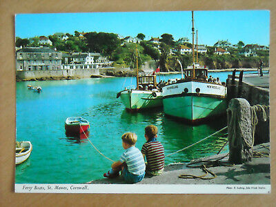 Old Postcard Of Ferry Boats, St. Mawes, Cornwall