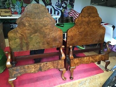 Pair of antique single bedsteads, beautiful chunky walnut, in great condition