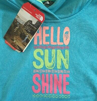 The NORTH FACE Girls L Hoodie Sweatshirt Hello Sunshine Turquoise Blue G Surgent