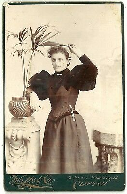 Victorian cabinet photo  young lady curly hair pot plant Clifton  photographer