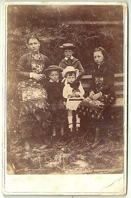 Victorian cabinet photo  woman and four children unstated  photographer